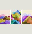 set abstract mountain landscape minimalist vector image