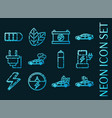 set electric car blue glowing neon icons vector image