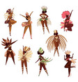 set of brazilian women in dancing action vector image