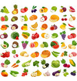 set of fruits and vegetables fresh food healthy vector image vector image