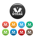 steak knife icons set color vector image