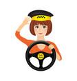 taxi driver girl holding wheel order a taxi vector image vector image