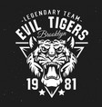 tigers sport club university team league badge vector image