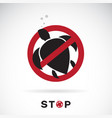 turtle in red stop sign on white background vector image
