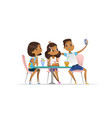 two african-american girls and boy meeting vector image