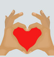 two hands making heart sign cartoon vector image