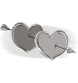 two loving hearts vector image vector image