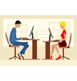 Two office workers vector image vector image