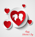 Valentine card with red hearts and lovers vector image vector image