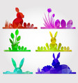 easter polygonal design with banny and eggs vector image