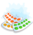 Pile blister packs with pills vector image