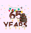 65 years happy birthday card vector image vector image