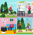 aged elderly people orthogonal composition set vector image vector image