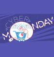 banner on cyber monday cart vector image vector image