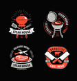 bbq grill barbecue logo or symbol labels for vector image vector image