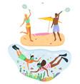beach badminton snorkeling beach activities vector image vector image