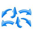 blue arrows 3d shiny signs vector image vector image