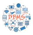 blue round dbms concept vector image vector image