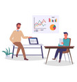 business people man holding laptop guy reading vector image