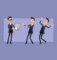 cartoon flat funny mafia man character set vector image