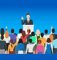 Cartoon public speaker politician card poster vector image