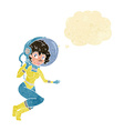 cartoon space woman with thought bubble vector image vector image