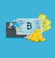 computer with bitcoin digital currency and money vector image vector image