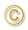 copyright sign golden vector image vector image