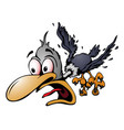 crazy cartoon bird vector image vector image