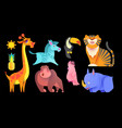 cute jungle animals set exptic wild collection vector image vector image