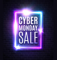 cyber monday sale banner neon rectangle background vector image vector image