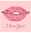 Decorative card with lips for Valentines Day vector image