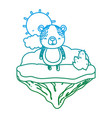 degraded line happy bear animal in the float vector image vector image