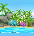 dinosaur next to the beach vector image vector image