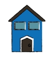 drawing blue house windows vector image vector image