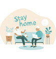 elderly couple at home coronavirus self quarantine vector image vector image