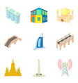 epic building icons set cartoon style vector image vector image
