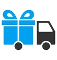 Gift Delivery Van Flat Icon vector image vector image