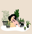 girl sitting on floor with cat and houseplants vector image vector image