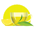Green tea leaves cup glass lemon vector image vector image