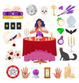 gypsy fortune teller with magic crystal ball vector image