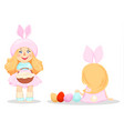 happy easter cute girl in a costume of rabbit vector image vector image