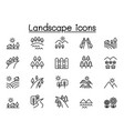 landscape icon set in thin line style vector image