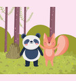 little panda and squirrel cartoon character forest vector image vector image