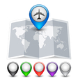 Map icon with multicolored Pin Pointers vector image vector image