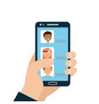 medical care with hand holding smartphone with vector image