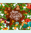 merry christmas objects and decorations vector image
