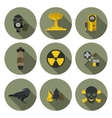 nuclear war flat icons vector image vector image
