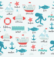 pattern marine cute elements and lettering name vector image vector image