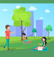 people walking in free wi-fi zone in city park vector image vector image